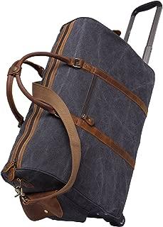 LIUFULING Men's Luggage Bag Canvas Leather Travel Bag Portable Large Capacity Shoulder Bag (Color : Bronze, Size : L)