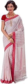 SareesofBengal Women's Khadi Cotton Jamdani Dhakai Saree Tangail Handloom White And Red