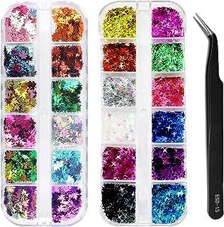 IHUIXINHE Fall Nail Art Set, 12 Grids Holografische Glitters Maple Leaf Nail Pailletten en 12 Grids Glitters Vierpuntige S...