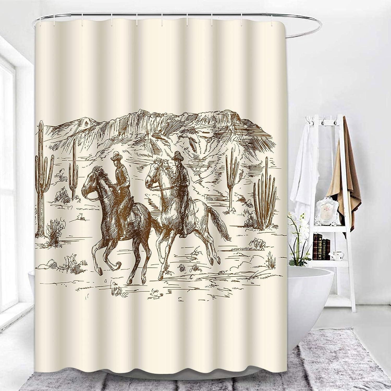 ArtSocket Shower Curtain American Wild West Desert Cowboys Ranch Western Waterproof Polyester Fabric Bathroom Decor Bath 72 x 72 Inches Set with Hooks