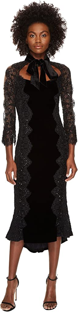 Marchesa - 3/4 Sleeve Velvet Lace Cocktail Dress