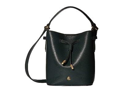LAUREN Ralph Lauren Debby III Drawstring Mini (Racing Green Lizard Embossed) Handbags