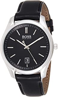 Hugo Boss Mens Quartz Watch, Analog Display and Leather Strap 1513729