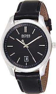 Hugo Boss Mens Quartz Watch, Analog Display and Leather Strap 1513729