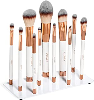 Professional magnetic white & Pink rose gold full makeup brush set. Luxley Beauty brushes are synthetic eco vegan friendly & cruelty free The pearl plate is a pro holder & organizer for a cleaner look