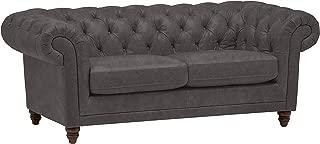 Stone & Beam Bradbury Chesterfield Tufted Leather Loveseat Sofa Couch, 78.7