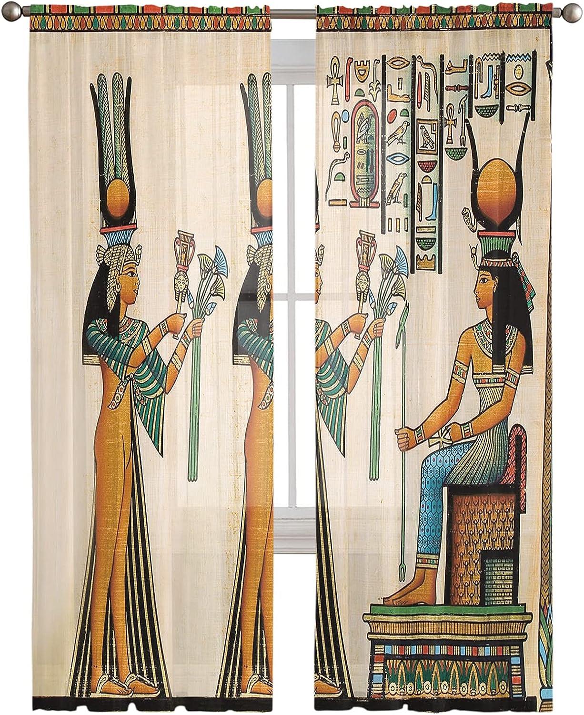 2 service Panels Sheer Voile Curtains Women Flower Over item handling Draperies-Vintage Clo