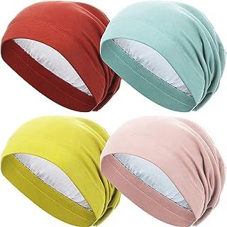 4 Pieces Satin Lined Sleep Cap Slouchy Beanie Hat Night Hair Cap for Women