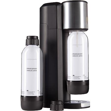 Levivo Kit de machine à eau gazeuse/comprenant une machine à gazéifier l'eau potable et 2 bouteilles de 0,75 l en PET, noir
