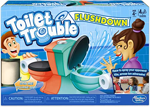 discount Hasbro Gaming Toilet Trouble Flushdown Kids Game Water outlet sale Spray Ages discount 4+ online