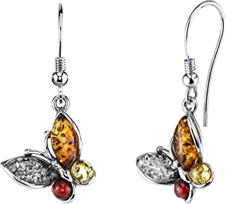 Sterling Silver Baltic Amber Multi Color Butterfly Drop Dangle Earrings 1.5 inches long