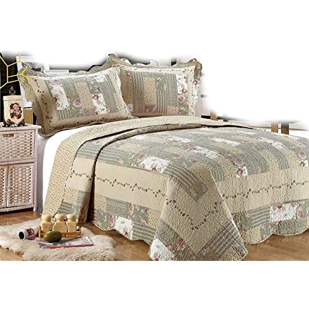 """All for You 3-Piece Reversible Bedspread/ Coverlet / Quilt Set-Beige, Pink, Burgundy and Gray Green Prints (Oversize King 110""""x120"""")"""