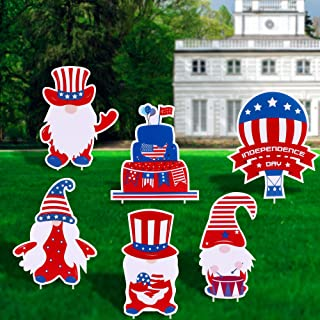 FiGoal Independence Day Yard Signs (3) Independence Day Decorations Corrugated Yard Stake Signs Romantic Outdoor Decoratio...
