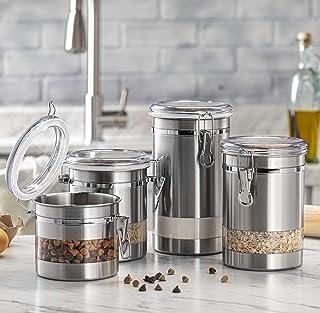 ظرف مخصوص نگهداری مواد غذایی ضد آب Le'raze مخصوص پیشخوان آشپزخانه با پنجره ، مجموعه قوطی مناسب برای چای آرد ، شکر ، قهوه ، آب نبات ، ظرف کوکی با درب های اکریلیک شفاف