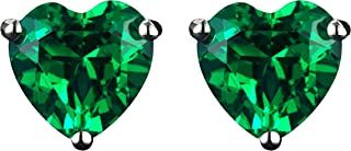 Navachi 925 Sterling Silver 18k White Gold Plated 3.0ct Heart Ruby Sapphire Emarald Stud Earrings