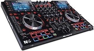 Numark NVII - Controlador de DJ profesional de Doble Pantalla de alta resolución y 4 Decks para Serato DJ (Incluido) con Platos Metálicos, 16 Pads Sensibles a la Velocidad y Paquetes Toolroom Remix