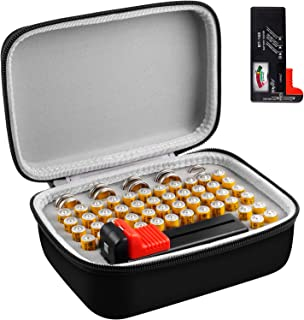 Battery Organizer Storage Box with Battery Tester (BT168), Case Bag Holder fits for 58pcs AAA Lithium 3V(Not Includes Batt...