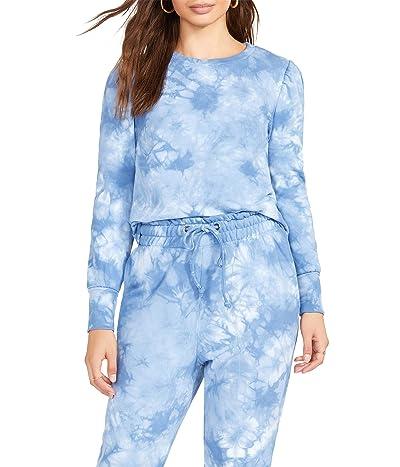 BB Dakota x Steve Madden Groove Thing Sweatshirt Tie-Dye Fleece Puff Sleeve Women