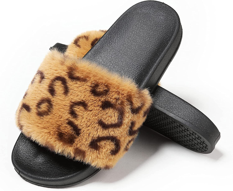 Fur Slides Furry Slides For Women Fuzzy Slides Slippers Women's Faux Fur Slides Fluffy Sandals Open Toe Outdoor Indoor