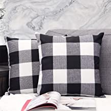 JOJUSIS Pack of 2 Classic Buffalo Check Plaid Cotton Linen Soft Solid Decorative Square Throw Pillow Covers Set Cushion Ca...