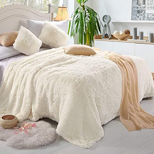 """popular Giantex Reversible Soft Fur Blanket, Oversized Fluffy Throw Blanket, Queen Size Shaggy Decorative Fuzzy Blanket, Warm Comfy Luxury Washable outlet sale Blankets for Sofa Bed Couch outlet sale Bedroom Living Room (88"""" x 77"""") outlet sale"""