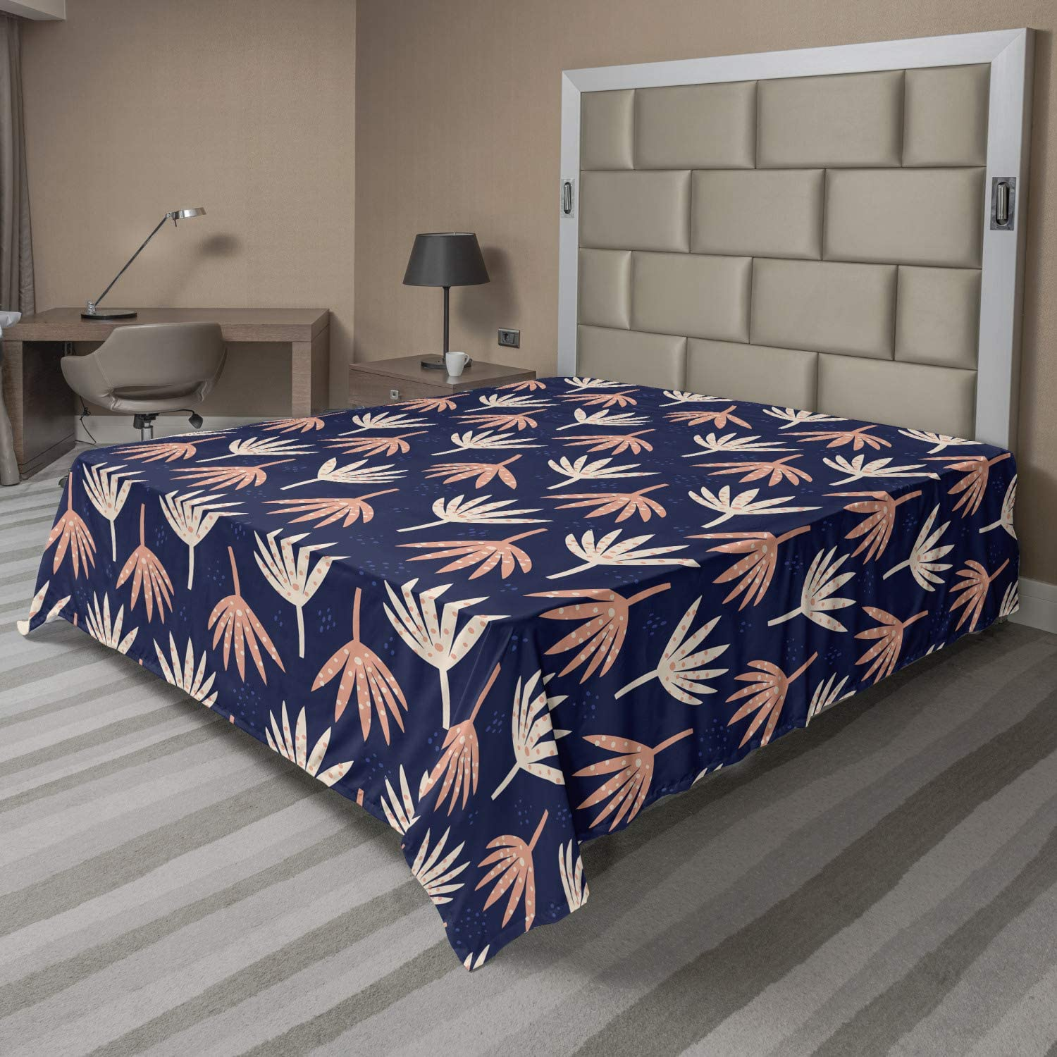 Ambesonne Navy Blue Flat Sheet At the price Max 49% OFF Flower Abstract Petals of Dots P