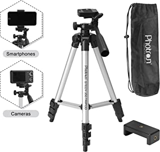 PHOTRON STEDY 350 Tripod with Mobile Holder for Smart Phone, Compact Digital Camera, Mobile Phone | Maximum Operating Height: 1050mm | Weight Load Capacity: 2kg | 4-Tube Section, Case Included