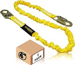 KwikSafety (Charlotte, NC) Rattler 2 Pack (Internal Shock Absorber) Single Leg 6ft Safety Lanyard OSHA ANSI Fall Arrest Pr...