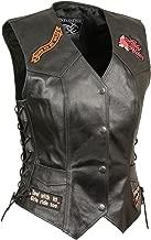 Event Leather Women's 9 Patches Vest (Black, Medium)