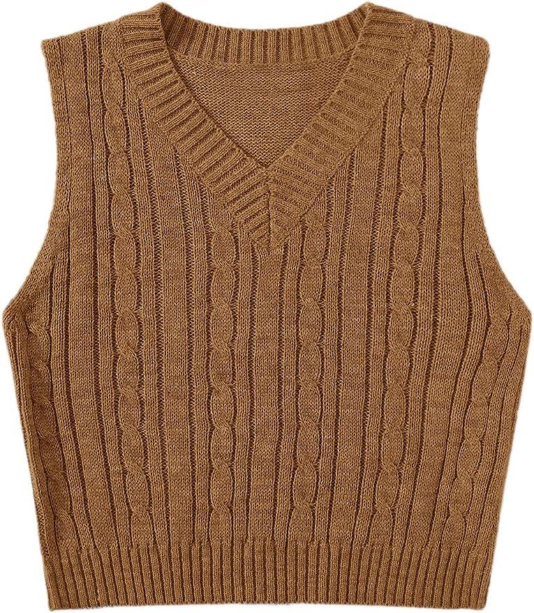 Vintage Sweaters, Retro Sweaters & Cardigan SweatyRocks Womens Plaid Geo Sleeveless V Neck Knit Crop Top Sweater Vest  AT vintagedancer.com