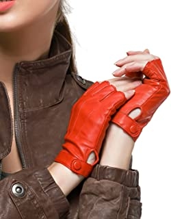 Women's Driving Leather Gloves Nappa Leather Half Finger Fingerless Gloves Fitness Lined Gloves for Driving Cycling Motorcycling