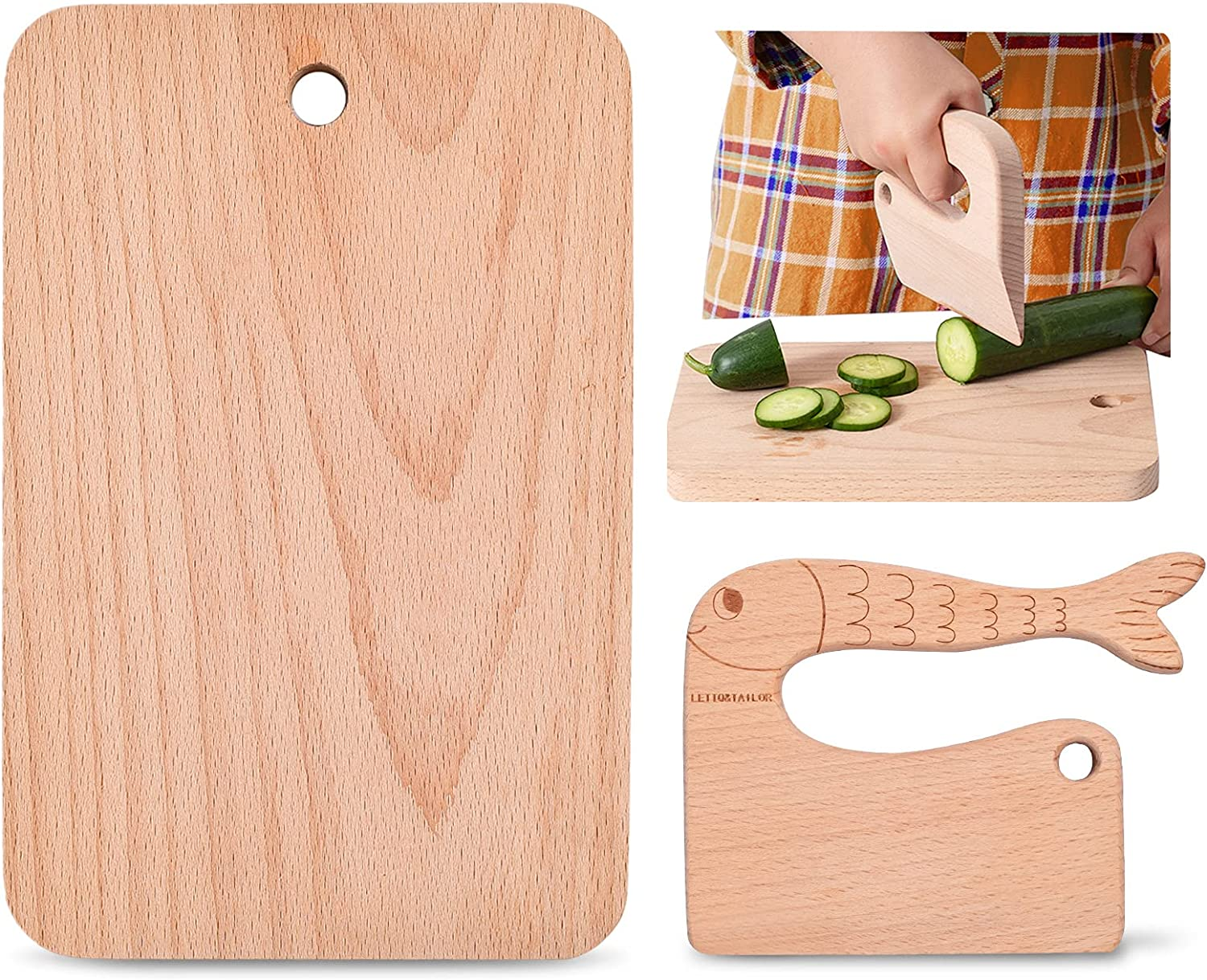 2 Pieces Kids Max 52% OFF Knife Set for Cooking Wood Board with Sa Cutting Max 55% OFF