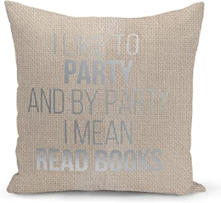 Party Read Books Beige Linen Pillow with Metalic Silver Foil Print Funny Readers Sofa Pillow