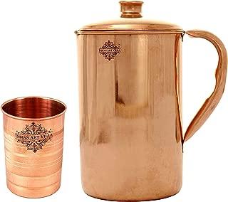 IndianArtVilla Handmade Pure Copper Pitcher/Jug   40 OZ   with 1 Copper Glass Cup   10 OZ   - Copper Combo
