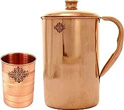 IndianArtVilla Handmade Pure Copper Pitcher/Jug | 40 OZ | with 1 Copper Glass Cup | 10 OZ | - Copper Combo