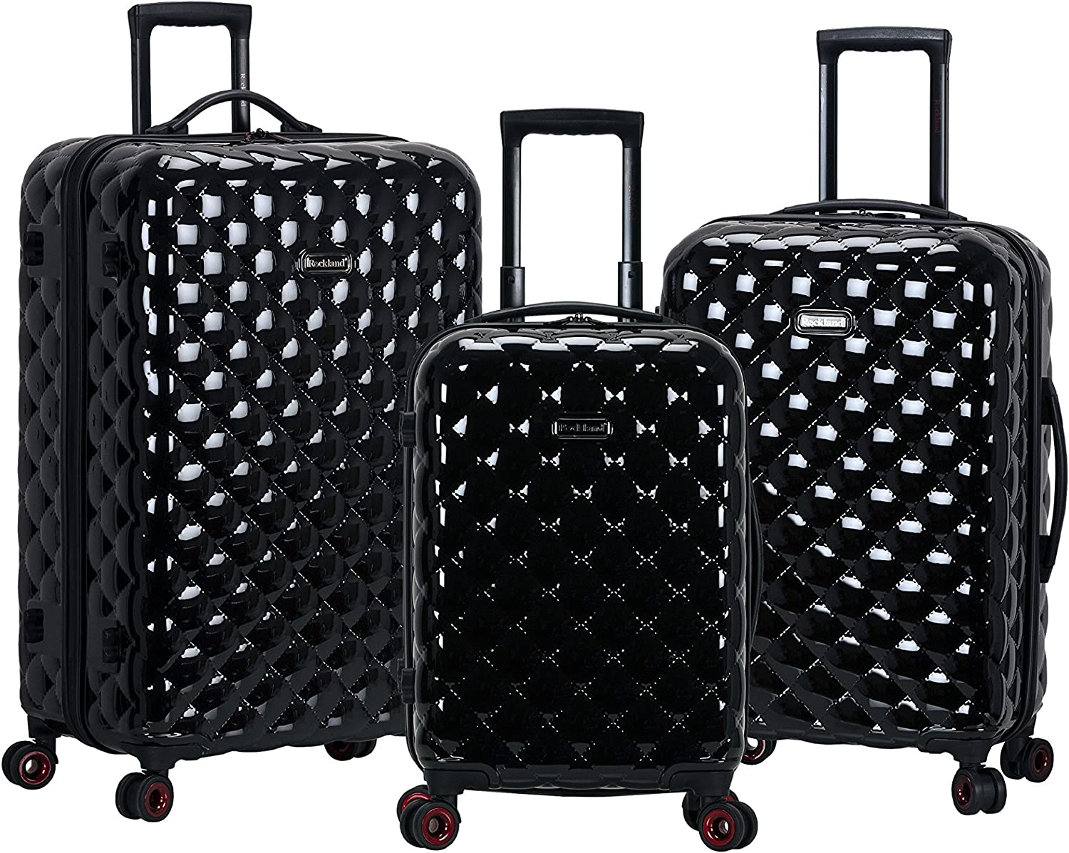 Max 68% OFF Rockland Quilt Hardside Expandable Spinner El Paso Mall Set Luggage Wheel Bl
