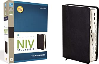 NIV Study Bible, Large Print, Bonded Leather, Black, Red Letter Edition, Thumb Indexed