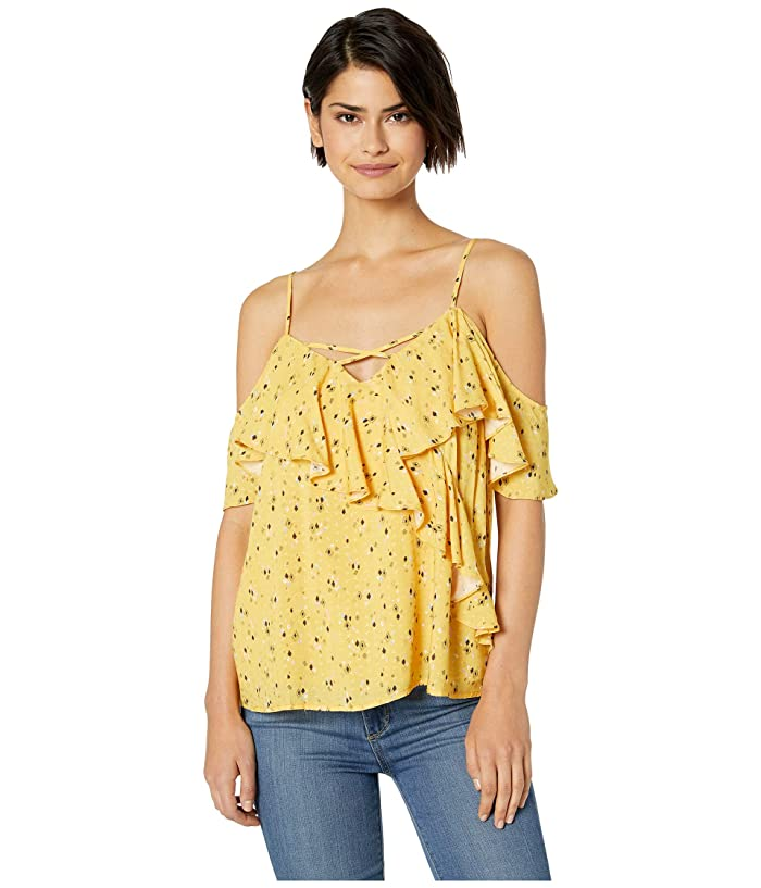 Miss Me Diamond Print Cold Shoulder Cami (Yellow) Women