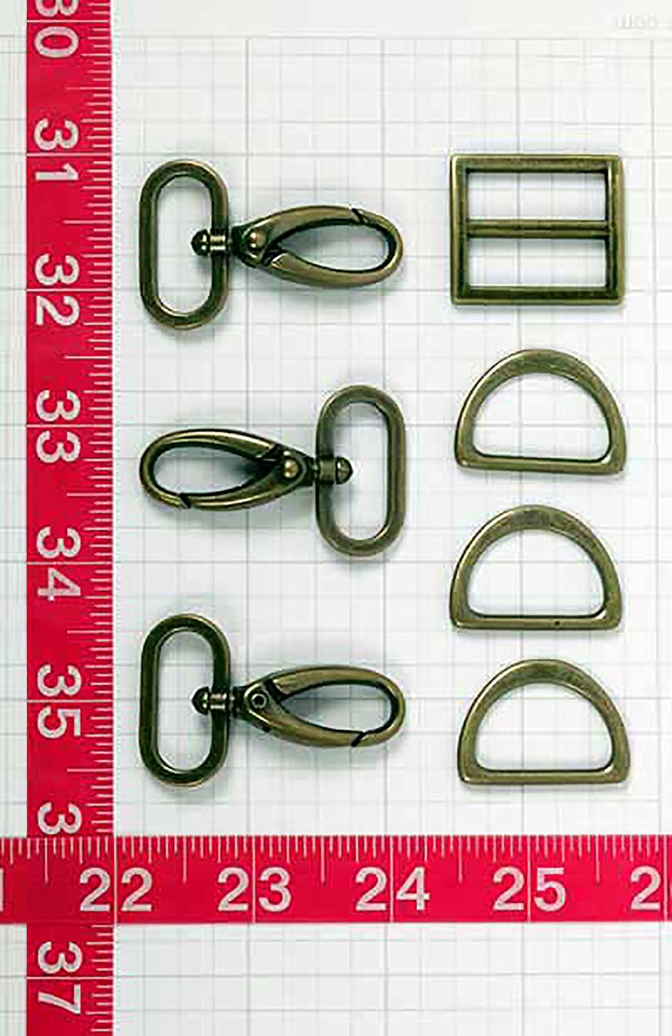 Patterns ByAnnie Hardware Set Antique Brass 1in 3 Swivel Hook Wide Mouth Slider