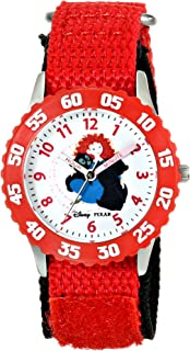 Disney Kids' W000261 Brave Stainless Steel Time Teacher Watch with Red Nylon Band