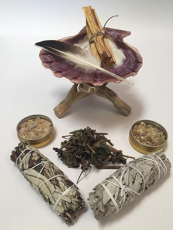 Sacred Scents For You Sage & Resin Incense Smudging Cleansing Kit: Loose Leaf Patchouli, Yerba Santa, White Sage Smudge, Palo Santo Sticks, Frankincense, Copal Resins, Lion's Paw w/Cobra Stand