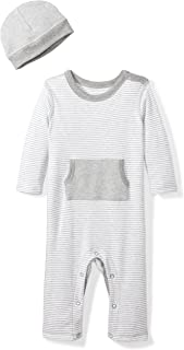 Baby Organic Long-Sleeve One-Piece Pocket Coverall with Cap Set