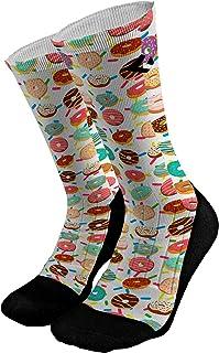 Donuts Athletic Compression Dri Fit Socks | Novelty Mid-Calf Casual Crew Socks