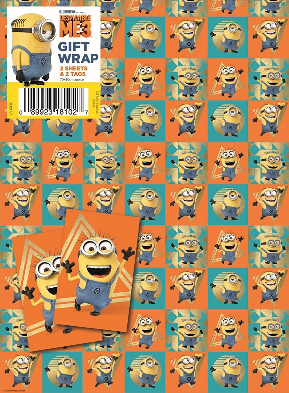 Despicable Me Gift Wrap Paper with Tag