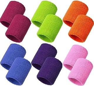 Meet-shop Zweetbanden, absorberend, zweetband voor pols, 6 para, elastische katoenen sportpolsbanden voor tennis, squash, ...