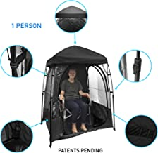 EasyGoProducts CoverU Sports Shelter – 1 Person Weather Tent Pod (Black) – New Larger Bag - Patents Pending