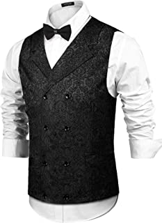 Mens Victorian Vest Steampunk Christmas Double Breasted Suit Vest Slim Fit Brocade Paisley Floral Waistcoat