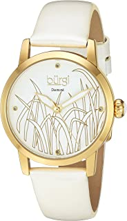 Burgi Diamond Accented Women's Watch - Casual Skinny Patent Leather Bracelet Strap - Printed Reed Design Dial With 4 Diamond Markers - Round Analog Quartz