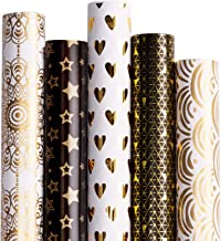 RUSPEPA Gift Wrapping Paper roll-White and Black with Gold Foil Pattern for Wedding,Birthdays, Valentines, Christmas-5 Roll-30Inch X 10Feet Per Roll