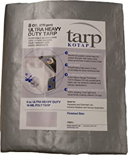 Kotap TUH-1225 Finished Size Ultra Heavy-Duty 8 oz/16-mil Poly Tarp, 12' x 25', Reversible Silver/White